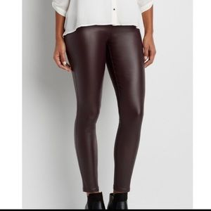 MAURICES burgundy faux leather legging